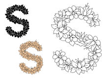 Letter S composed with pattern of flowers Royalty Free Stock Photos