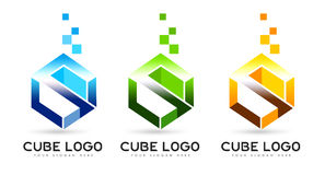 Letter S Cube Logo. An illustration of a business company logo representing an abstract cube in different color options. Also the cube might represent letter S Royalty Free Stock Image