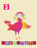 Letter S. Cute cartoon english alphabet with colorful image and word. Royalty Free Stock Image