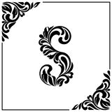 The letter S. Decorative Font with swirls and floral elements. Vintage style.  Stock Photo