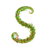 Letter S floral latin decorative character alphabet lettering sign Stock Photography