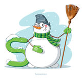 Letter S with funny Snowman. Cartoons Alphabet - Letter S with funny Snowman Stock Photos