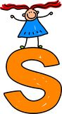 Letter S girl. Happy little girl standing on top of giant letter S - lowercase version Royalty Free Stock Images