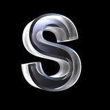 Letter S in glass 3D Stock Photo