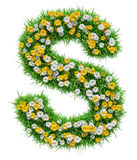 Letter S Of Green Grass And Flowers. Isolated On White Background. Font For Your Design. 3D Illustration vector illustration