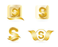 Letter S logo. Letter S gold logo set icons Stock Photo