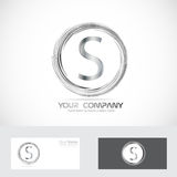 Letter S logo silver. Vector company logo icon element template letter s alphabet circle ring royalty free illustration