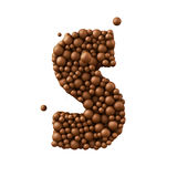 Letter S made of chocolate bubbles, milk chocolate concept, 3d render.  royalty free illustration