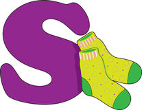 Letter S with a pair of socks Royalty Free Stock Images