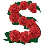 Letter S red roses  illustration Stock Photo