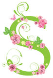 Letter S with roses. Letter with roses for design royalty free illustration
