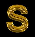 Letter S rounded shiny golden isolated on black. Background Stock Photo