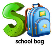 A letter S for school bag Royalty Free Stock Image