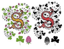 Letter S shamrock. There is a letter I with shamrock patter stock illustration