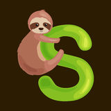 Letter s with sloth animal for kids abc education in preschool. Sloth animal and letter s for kids abc education in preschool.Cute animals letters english Royalty Free Illustration