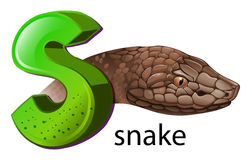 A letter S for snake. Illustration of a letter S for snake on a white background Royalty Free Stock Photography