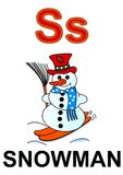 Letter S snowman. Alphabet drawing for small school children S snowman royalty free illustration