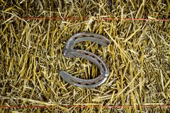 Letter S Steel Horseshoe on Straw royalty free stock image