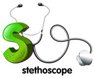 A letter S for stethoscope. Illustration of a letter S for stethoscope on a white background Stock Photography