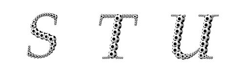 Letter S, T, U from footballs Stock Image