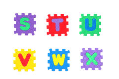 Letter s, t, u, v, w, x Stock Photos