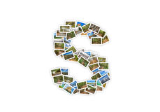 Letter S uppercase font shape alphabet collage Royalty Free Stock Images