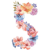 Letter S of watercolor flowers, isolated hand drawn on a white background, wedding design, english alphabet Royalty Free Stock Photo