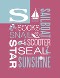 Letter S words typography illustration alphabet poster design vector illustration