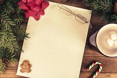 Letter for Santa Claus, directly above. Flat lay. stock photography