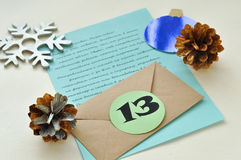 A letter from Santa Claus for a little child. An element of the Christmas advent calender Royalty Free Stock Photography