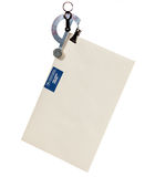 Letter scale weighing an envelope. Small balance type scale weighing an envelope with airmail stamp stock photo