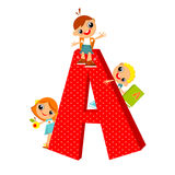 Letter A. School children look out for the letter A. Vector illustration Stock Image