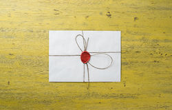 Letter with seal on table Royalty Free Stock Images