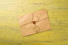 Letter with seal on table Royalty Free Stock Image