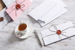 Letter with seal on table Stock Image