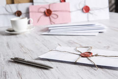 Letter with seal on table Stock Images