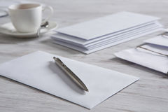 Letter with seal on table Stock Photography