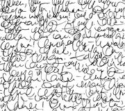 Letter seamless pattern. Black and white script background.  Royalty Free Stock Photos