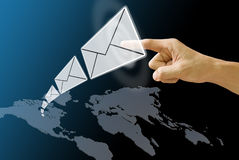 Letter send from America map Stock Photo