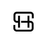 Letter SH logo concept. Creative monocrom concept letter S, SH, letter HS flat black color logo design royalty free illustration
