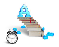Letter A shape blocks on books stairs with alarm clock Royalty Free Stock Photography
