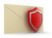 Letter and Shield (clipping path included) Stock Photo