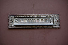 Letter Sign. Close up of a letter sign in Italian Royalty Free Stock Photography