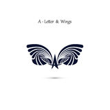 A-letter sign and angel wings.Monogram wing vector logo template Stock Photography