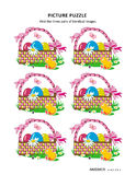 A4 or letter sized picture puzzle with Easter baskets. Easter themed visual puzzle with baskets, painted eggs, chicks, fresh green grass, flowers and butterflies stock illustration