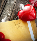 Letter with Smell of Love and Red Heart Royalty Free Stock Photography