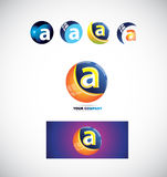 Letter a sphere logo icon 3d Royalty Free Stock Image
