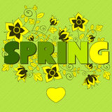 Letter spring. Letter spring green. vector illustration Royalty Free Stock Photography