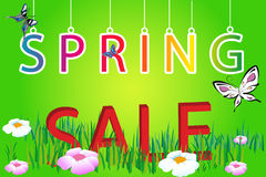 Letter spring sale on green background Stock Image