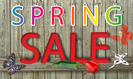 Letter spring sale on wood background Stock Photography